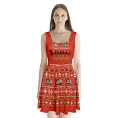 Merry Nerdmas! Ugly Christma Red Background Split Back Mini Dress