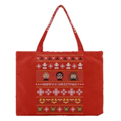 Merry Nerdmas! Ugly Christma Red Background Medium Tote Bag