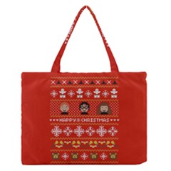 Merry Nerdmas! Ugly Christma Red Background Medium Zipper Tote Bag
