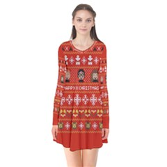 Merry Nerdmas! Ugly Christma Red Background Flare Dress