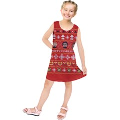 Merry Nerdmas! Ugly Christma Red Background Kids  Tunic Dress