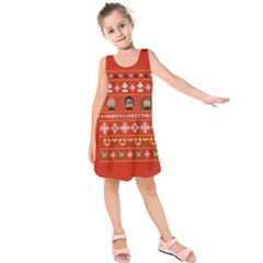Merry Nerdmas! Ugly Christma Red Background Kids  Sleeveless Dress