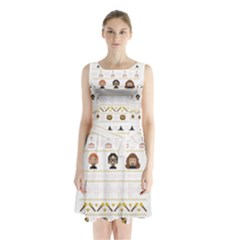 Merry Nerdmas! Ugly Christmas Sleeveless Chiffon Waist Tie Dress