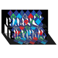 Minecraft Ugly Holiday Christmas Black Background Happy Birthday 3D Greeting Card (8x4)