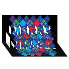 Minecraft Ugly Holiday Christmas Black Background Merry Xmas 3d Greeting Card (8x4)
