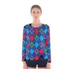 Minecraft Ugly Holiday Christmas Black Background Women s Long Sleeve Tee