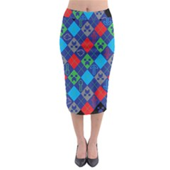Minecraft Ugly Holiday Christmas Black Background Midi Pencil Skirt