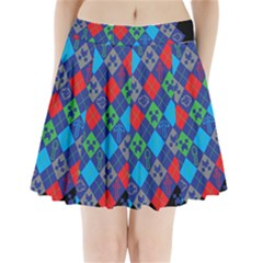 Minecraft Ugly Holiday Christmas Black Background Pleated Mini Skirt