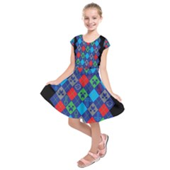 Minecraft Ugly Holiday Christmas Black Background Kids  Short Sleeve Dress