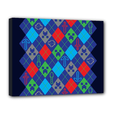 Minecraft Ugly Holiday Christmas Blue Background Canvas 14  x 11