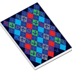 Minecraft Ugly Holiday Christmas Blue Background Large Memo Pads