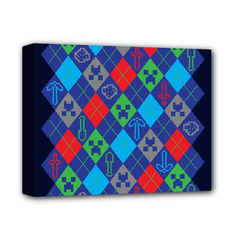 Minecraft Ugly Holiday Christmas Blue Background Deluxe Canvas 14  X 11