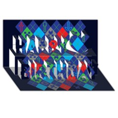 Minecraft Ugly Holiday Christmas Blue Background Happy Birthday 3d Greeting Card (8x4)