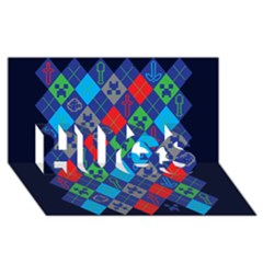 Minecraft Ugly Holiday Christmas Blue Background HUGS 3D Greeting Card (8x4)