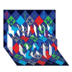 Minecraft Ugly Holiday Christmas Blue Background Thank You 3d Greeting Card (7x5)