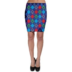 Minecraft Ugly Holiday Christmas Blue Background Bodycon Skirt