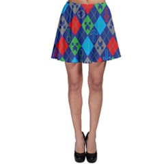 Minecraft Ugly Holiday Christmas Blue Background Skater Skirt