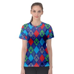 Minecraft Ugly Holiday Christmas Blue Background Women s Sport Mesh Tee