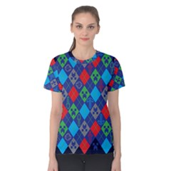 Minecraft Ugly Holiday Christmas Blue Background Women s Cotton Tee