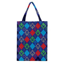 Minecraft Ugly Holiday Christmas Blue Background Classic Tote Bag