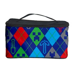Minecraft Ugly Holiday Christmas Blue Background Cosmetic Storage Case