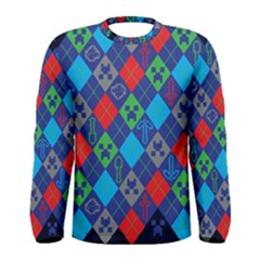 Minecraft Ugly Holiday Christmas Blue Background Men s Long Sleeve Tee