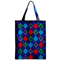 Minecraft Ugly Holiday Christmas Blue Background Zipper Classic Tote Bag