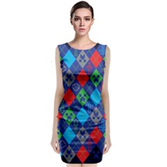 Minecraft Ugly Holiday Christmas Blue Background Classic Sleeveless Midi Dress