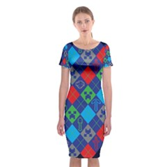 Minecraft Ugly Holiday Christmas Blue Background Classic Short Sleeve Midi Dress