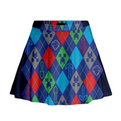 Minecraft Ugly Holiday Christmas Blue Background Mini Flare Skirt
