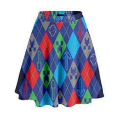 Minecraft Ugly Holiday Christmas Blue Background High Waist Skirt