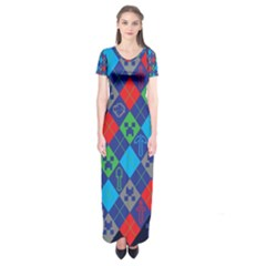 Minecraft Ugly Holiday Christmas Blue Background Short Sleeve Maxi Dress