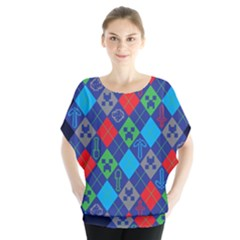 Minecraft Ugly Holiday Christmas Blue Background Blouse