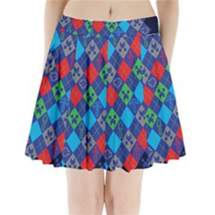 Minecraft Ugly Holiday Christmas Blue Background Pleated Mini Skirt