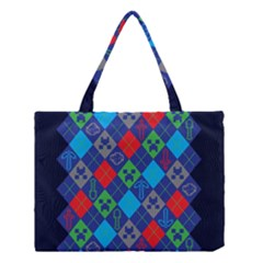 Minecraft Ugly Holiday Christmas Blue Background Medium Tote Bag