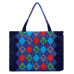 Minecraft Ugly Holiday Christmas Blue Background Medium Zipper Tote Bag