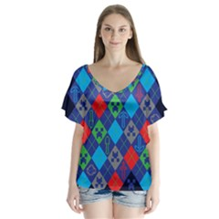 Minecraft Ugly Holiday Christmas Blue Background Flutter Sleeve Top