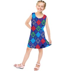 Minecraft Ugly Holiday Christmas Blue Background Kids  Tunic Dress