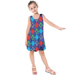 Minecraft Ugly Holiday Christmas Blue Background Kids  Sleeveless Dress