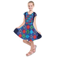 Minecraft Ugly Holiday Christmas Blue Background Kids  Short Sleeve Dress