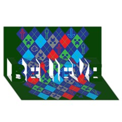 Minecraft Ugly Holiday Christmas Green Background BELIEVE 3D Greeting Card (8x4)