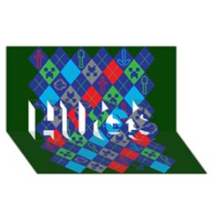 Minecraft Ugly Holiday Christmas Green Background HUGS 3D Greeting Card (8x4)