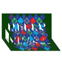 Minecraft Ugly Holiday Christmas Green Background Merry Xmas 3D Greeting Card (8x4)
