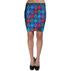 Minecraft Ugly Holiday Christmas Green Background Bodycon Skirt