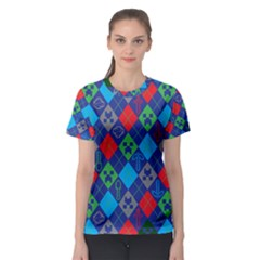 Minecraft Ugly Holiday Christmas Green Background Women s Sport Mesh Tee