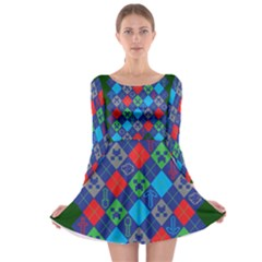 Minecraft Ugly Holiday Christmas Green Background Long Sleeve Skater Dress