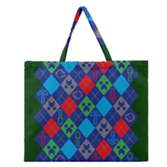 Minecraft Ugly Holiday Christmas Green Background Zipper Large Tote Bag