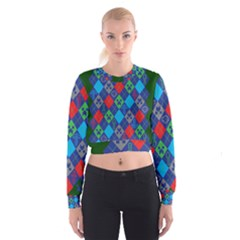 Minecraft Ugly Holiday Christmas Green Background Women s Cropped Sweatshirt