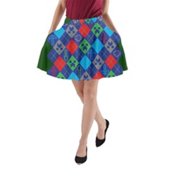 Minecraft Ugly Holiday Christmas Green Background A Line Pocket Skirt