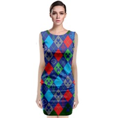 Minecraft Ugly Holiday Christmas Green Background Classic Sleeveless Midi Dress